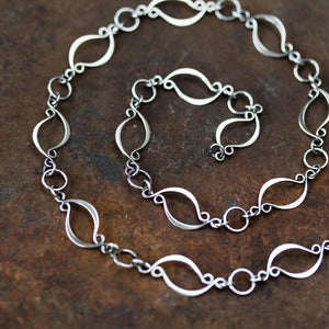 Elegant Marquise Link Chain Necklace, Sterling Silver - jewelry by CookOnStrike