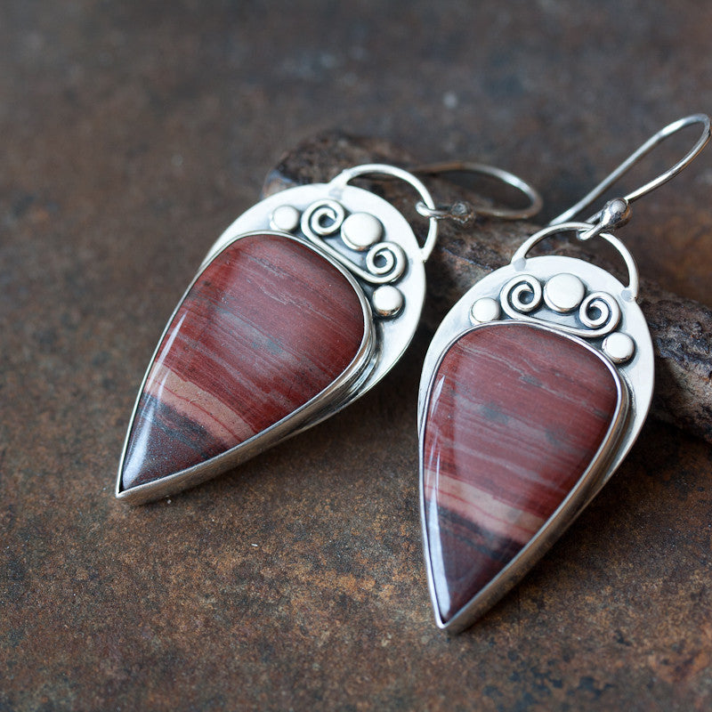 Unique metalwork earrings, sterling silver bezel set dark red jasper cabochon - CookOnStrike