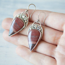 Load image into Gallery viewer, Unique metalwork earrings, sterling silver bezel set dark red jasper cabochon - jewelry by CookOnStrike