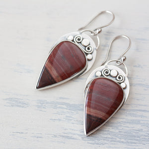 Unique metalwork earrings, sterling silver bezel set dark red jasper cabochon - jewelry by CookOnStrike