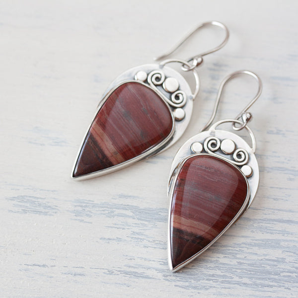 Unique metalwork earrings, sterling silver bezel set dark red jasper cabochon