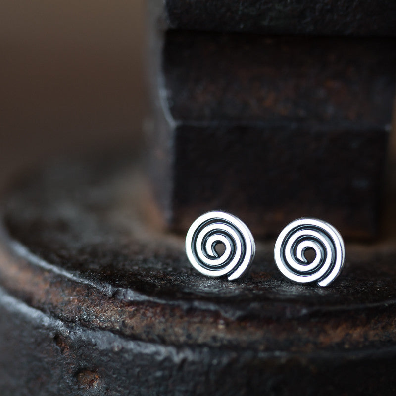 Tiny Celtic Spiral Stud Earrings - jewelry by CookOnStrike