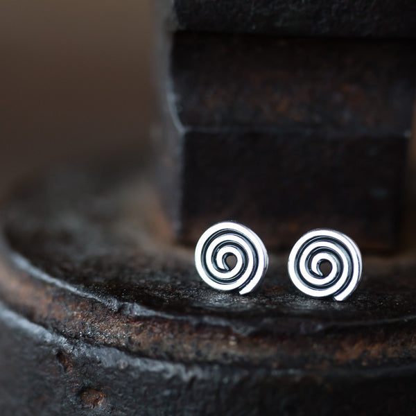 Tiny Celtic Spiral Stud Earrings