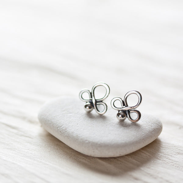 Small abstract sterling silver stud earrings