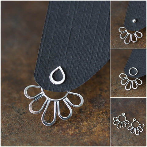 Modern Minimal Silver Petals Ear Jackets, Front And Back Earring Sets