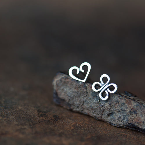 Love and Luck - Tiny Mismatched Stud Earrings - jewelry by CookOnStrike