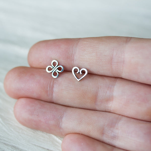 Love and Luck - Tiny Mismatched Stud Earrings - CookOnStrike
