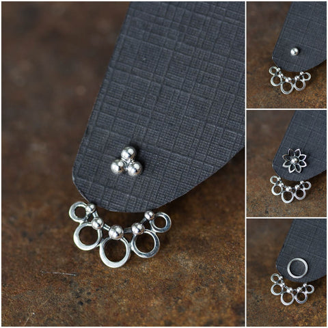 Circles and Dots, Handmade Silver Ear Jackets