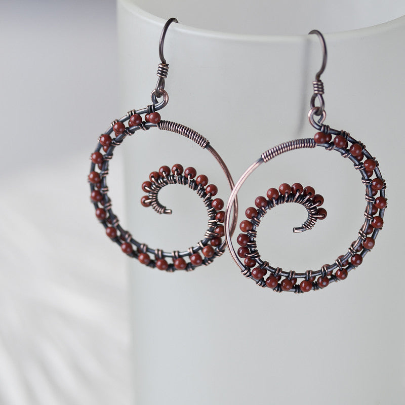 Dark brown oxidized copper wire wrapped spiral hoop earrings with ...