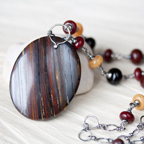 Dark Red and Black Stone Pendant Necklace, Large Oval Tiger Iron with Lampwork Beads