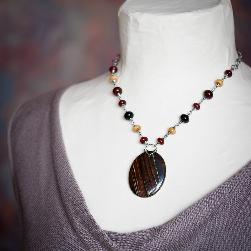 Dark Red and Black Tiger Iron Pendant Necklace, Large Oval Stone with Lampwork Beads