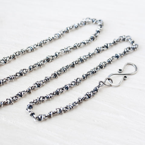 Unique Sterling Silver Chain for pendant, handcrafted oxidized silver necklace