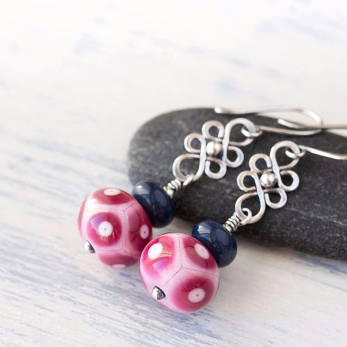 Pink Purple and Blue Lampwork Earrings, Sterling Silver - jewelry by CookOnStrike