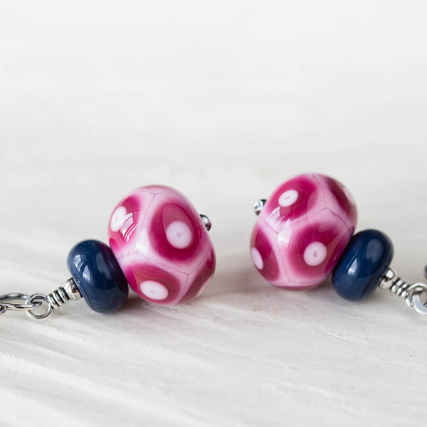 Pink Purple and Blue Lampwork Earrings, Sterling Silver - CookOnStrike