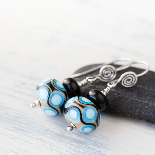 Modern Retro Patterned Lampwork Earrings, Sterling silver - jewelry by CookOnStrike