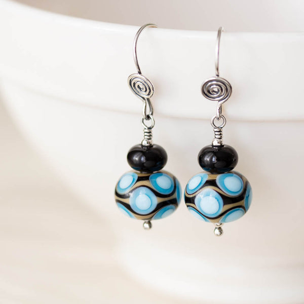 Modern Retro Patterned Lampwork Earrings, Sterling silver - CookOnStrike