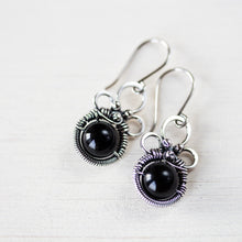 Load image into Gallery viewer, Black Onyx Dangle Earrings, Sterling Silver Wirework - jewelry by CookOnStrike