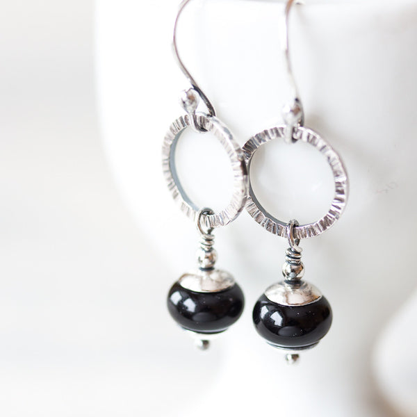Small Black Silver Earrings, Textured open circles with lampwork beads