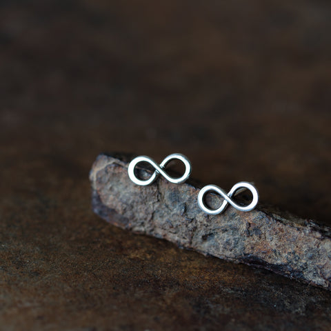 Small Handmade Silver Infinity Earrings, Simple modern everyday studs - CookOnStrike