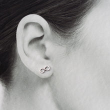 Load image into Gallery viewer, Small Handmade Silver Infinity Earrings, Simple modern everyday studs - jewelry by CookOnStrike