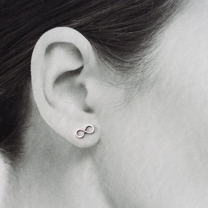 Small Handmade Silver Infinity Earrings, Simple modern everyday studs - jewelry by CookOnStrike
