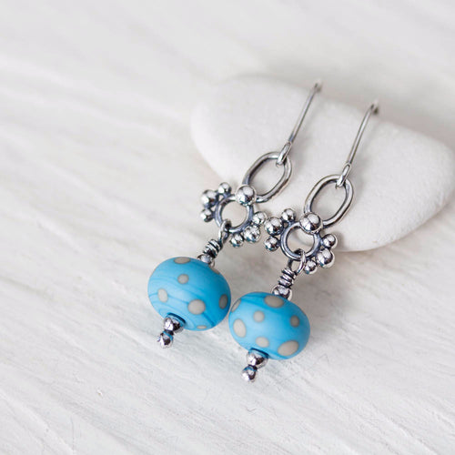 Petite Lampwork Earrings, Light Blue Bead Dangle, Sterling Silver - jewelry by CookOnStrike