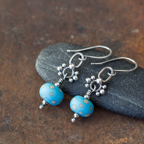Petite Lampwork Earrings, Light Blue Bead Dangle, Sterling Silver - CookOnStrike
