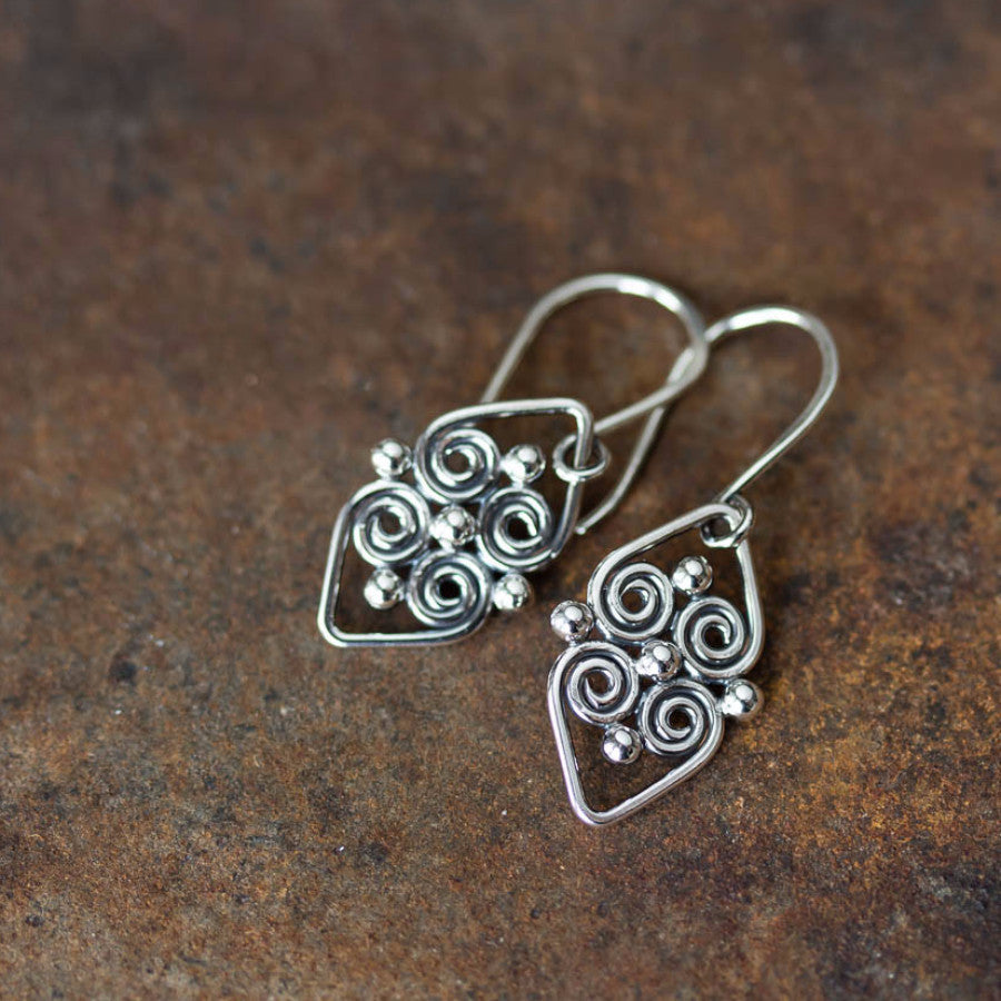 Handcrafted silver earrings, short dangles