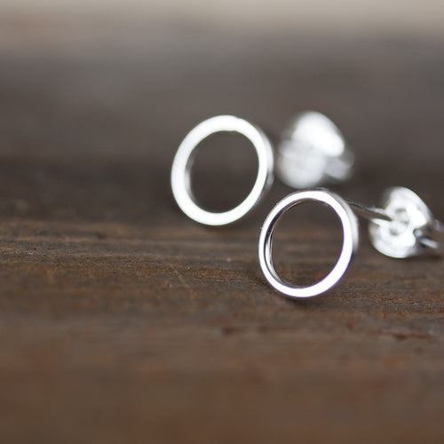 7mm Minimalist Silver Circle Stud Earrings - jewelry by CookOnStrike