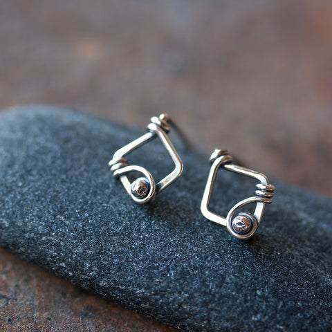 Small Unique Silver Stud Earrings