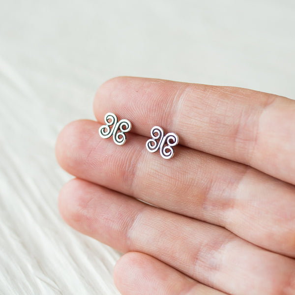 Small Tribal Stud Earrings, 8mm abstract ornament