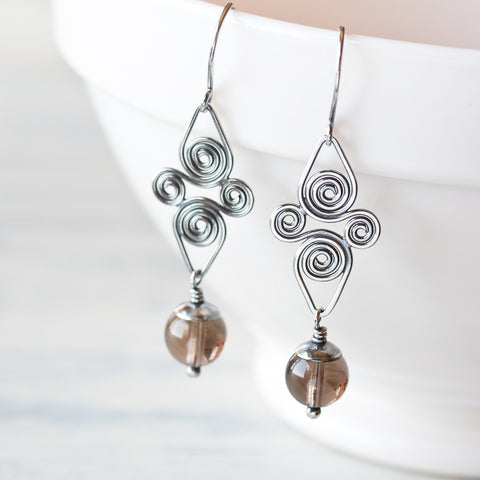 Smoky Quartz Earrings, Artisan handcrafted sterling silver Celtic spiral earrings
