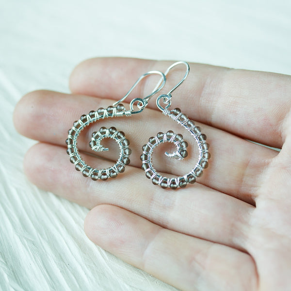 Dainty smoky quartz spiral earrings, short wire wrapped silver dangles