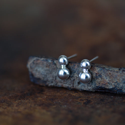 Elegant Double Dot Stud Earrings, Sterling Silver - jewelry by CookOnStrike