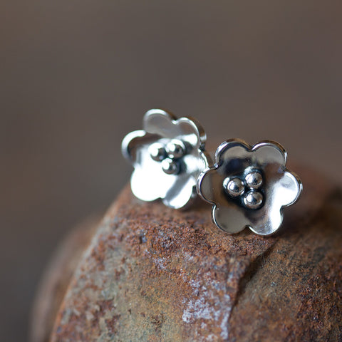 Small Poppy Earrings, Domed sterling silver flower studs