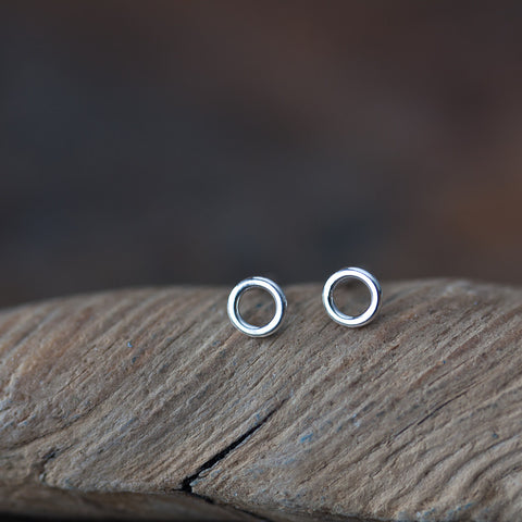 Teeny Tiny Circle Stud Earrings, 4.5mm