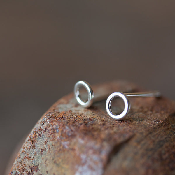 Teeny Tiny Circle Stud Earrings, 4.5mm - CookOnStrike