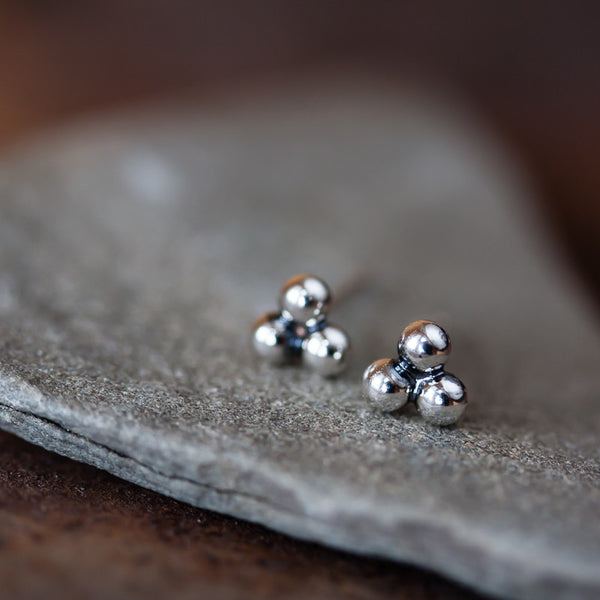 5mm Sterling Silver Triangle Stud Earrings, Three Balls