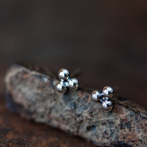 5mm Sterling Silver Triangle Stud Earrings, Three Balls - jewelry by CookOnStrike