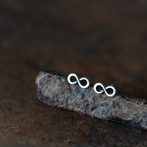 Tiny Infinity Earrings, Small modern everyday studs - CookOnStrike