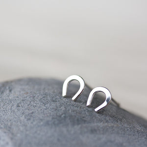 Mini Lucky Horseshoe Stud Earrings - jewelry by CookOnStrike