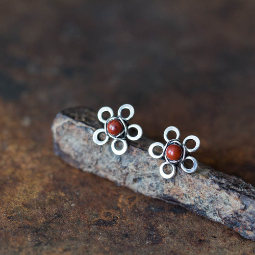 Red Jasper Flower Studs, Tiny Wire Wrapped Silver Flowers - CookOnStrike