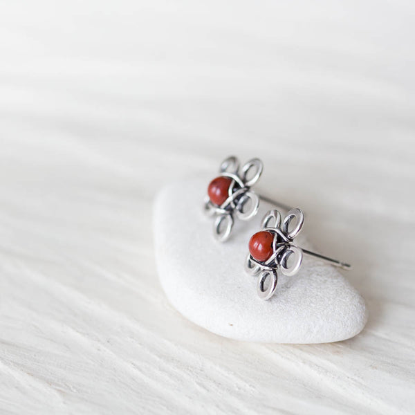 Red Jasper Flower Studs, Tiny Wire Wrapped Silver Flowers