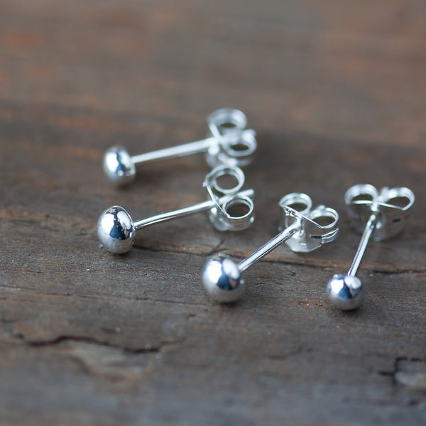 4mm and 3mm Simple Ball Stud Earring Set for Double Piercing
