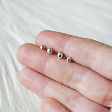 Load image into Gallery viewer, 4mm and 3mm Simple Ball Stud Earring Set for Double Piercing - CookOnStrike