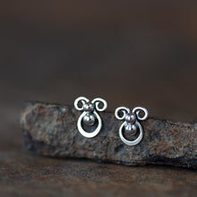 Load image into Gallery viewer, Tiny unusual artisan stud earrings, abstract silver shapes - jewelry by CookOnStrike