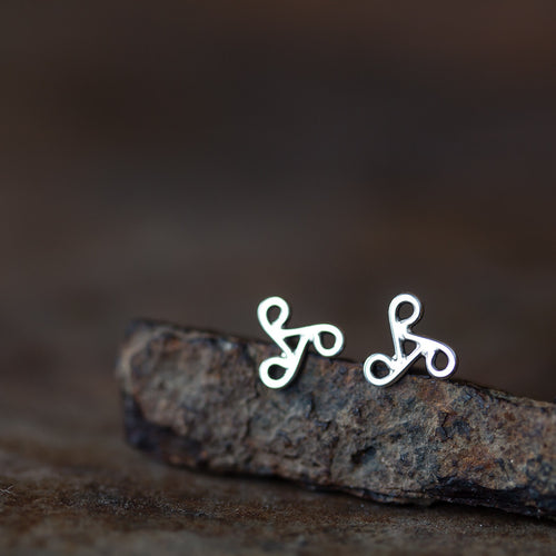 Tiny Celtic Triskele Earrings, unisex 7mm triskelion studs - jewelry by CookOnStrike