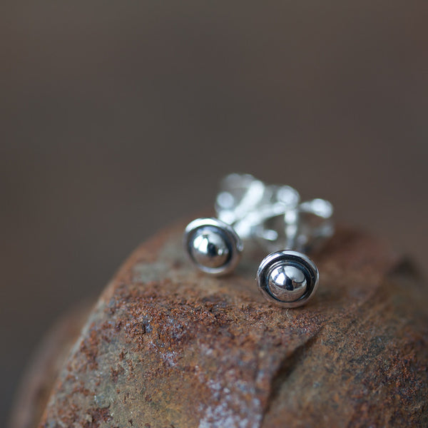 4.5mm Tiny Sterling Silver UFO Stud Earrings - CookOnStrike