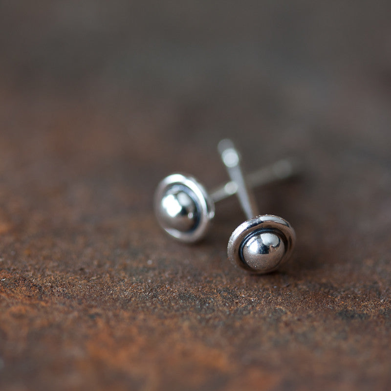 4.5mm Tiny Sterling Silver UFO Stud Earrings