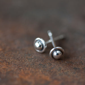 4.5mm Tiny Sterling Silver UFO Stud Earrings - jewelry by CookOnStrike